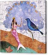 Vintage Mermaid Bird Collage Canvas Print