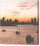 Vintage Miami Skyline Canvas Print