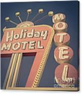 Vintage Motel Sign Holiday Motel Square Canvas Print