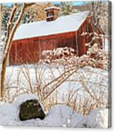 Vintage New England Barn Portrait Square Canvas Print