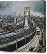 Vintage New York City Brooklyn Bridge Canvas Print
