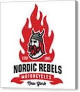 Vintage Nordic Rebels Motorcycles Canvas Print
