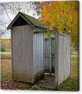 Vintage Outhouse Alongside A Historical Country School In Southwest Michigan Canvas Print