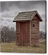 Vintage Outhouse Behind A Historical Country School In Southwest Michigan Canvas Print