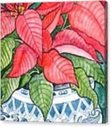 Vintage Poinsettia Canvas Print