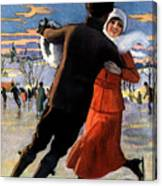 Vintage Poster Couples Skating At Christmas On Frozen Pond Canvas Print