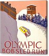 Vintage Poster - Olympics - Lake Placid Bobsled Canvas Print