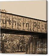 Vintage Railway Bridge In Sepia Canvas Print