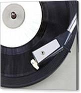 Vintage Record Player Close Up. Vintage Gramophone Canvas Print