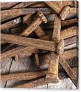 Vintage Rusty Square Nails Canvas Print