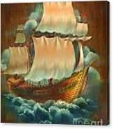 Vintage Sail On Wood Canvas Print