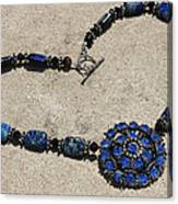 Vintage Sapphire Rhinestone Brooch Pendant Necklace 3635n Canvas Print