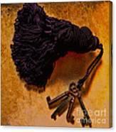 Vintage Skeleton Keys Tassled Gold Canvas Print