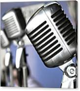 Vintage Standing Radio Microphones Canvas Print