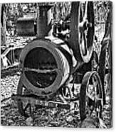 Vintage Steam Tractor Black And White Canvas Print