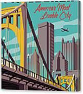 Pittsburgh Poster - Vintage Travel Bridges Canvas Print