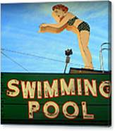 Vintage Swimming Lady Hotel Sign Canvas Print