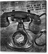 Vintage Telephone In Black And White  Canvas Print