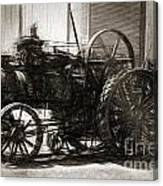 Vintage Tractor Drawing In Industrialised 1900s Canvas Print