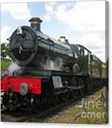 Vintage Train Black Steam Engine Canvas Print