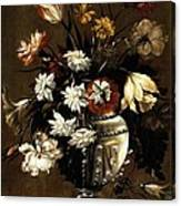 Vintage Vase Of Flowers C1650 Canvas Print