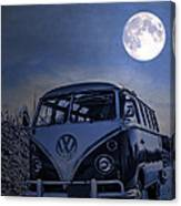 Vintage Vw Bus Parked At The Beach Under The Moonlight Canvas Print