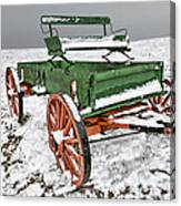 Vintage Wagon In The Snow E98 Canvas Print