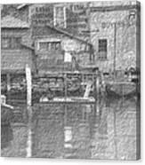 Vintage Waterfront Scene Canvas Print