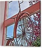 Vintage Wrought Iron Bike In Window Art Prints Canvas Print