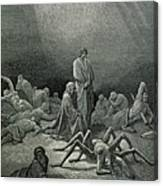 Virgil And Dante Looking At The Spider Woman, Illustration From The Divine Comedy Canvas Print