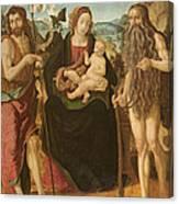 Virgin And Child Between St. John Canvas Print