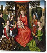 Virgin And Child With Saints Catherine Of Alexandria And Barbara Canvas Print