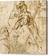 Virgin And Child With Saint Francis Canvas Print