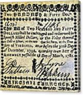 Virginia Banknote, 1781 Canvas Print