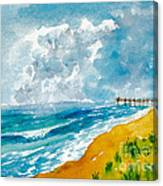 Virginia Beach With Pier Canvas Print