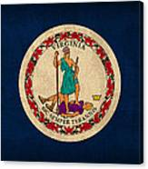 Virginia State Flag Art On Worn Canvas Canvas Print
