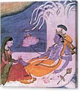 Vishnu And Lakshmi Float Across Cosmos Canvas Print