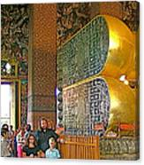 Visitors Pass Bottoms Of Feet Of Reclining Buddha In Wat Po In B Canvas Print
