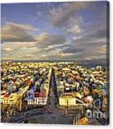 Vista Of Reykjavik  Canvas Print