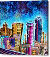 Viva Las Vegas A Fun And Funky Pop Art Painting Of The Vegas Skyline And Sign By Megan Duncanson Canvas Print