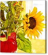 Vivid Cheery Sunflower Bouquet Canvas Print