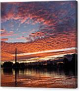 Vivid Skyscape - Summer Sunset At Toronto Beaches Marina Canvas Print