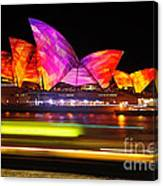 Vivid Sydney By Kaye Menner - Opera House ... Triangles Canvas Print