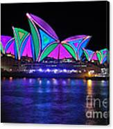 Vivid Sydney By Kaye Menner - Opera House... Patterns 2 Canvas Print