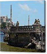 Vizcaya Breakwater Ship Footbridge And Skyline Biscayne Bay Miami Florida Poster Edges Digital Art Canvas Print
