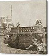 Vizcaya Breakwater Ship Footbridge And Skyline Biscayne Bay Miami Florida Vintage Digital Art Canvas Print