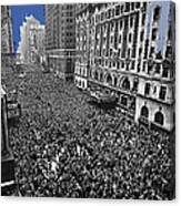 Vj Day Times Square New York City 1945 Color Added 2013 Canvas Print
