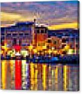 Vodice Waterfront Colorfu Evening Panorama Canvas Print