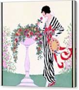 Vogue Cover Featuring A Woman Smelling A Rose Canvas Print