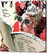 Vogue Cover Illustration Of A Woman Reading Canvas Print